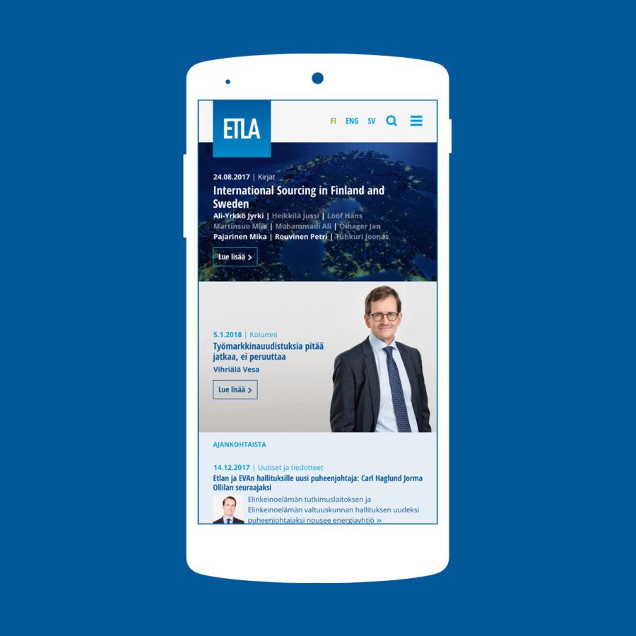 Etla.fi-sivuston mobiilinäkymä