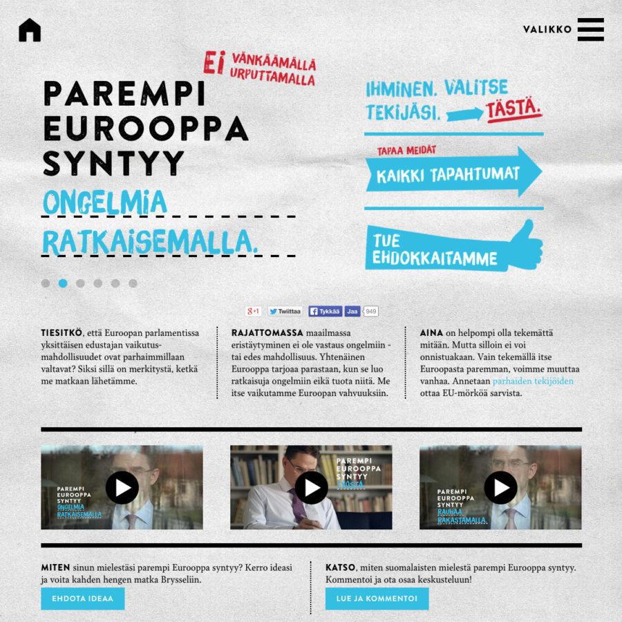 Eurovaalisaitin etusivu, desktop-näkymä