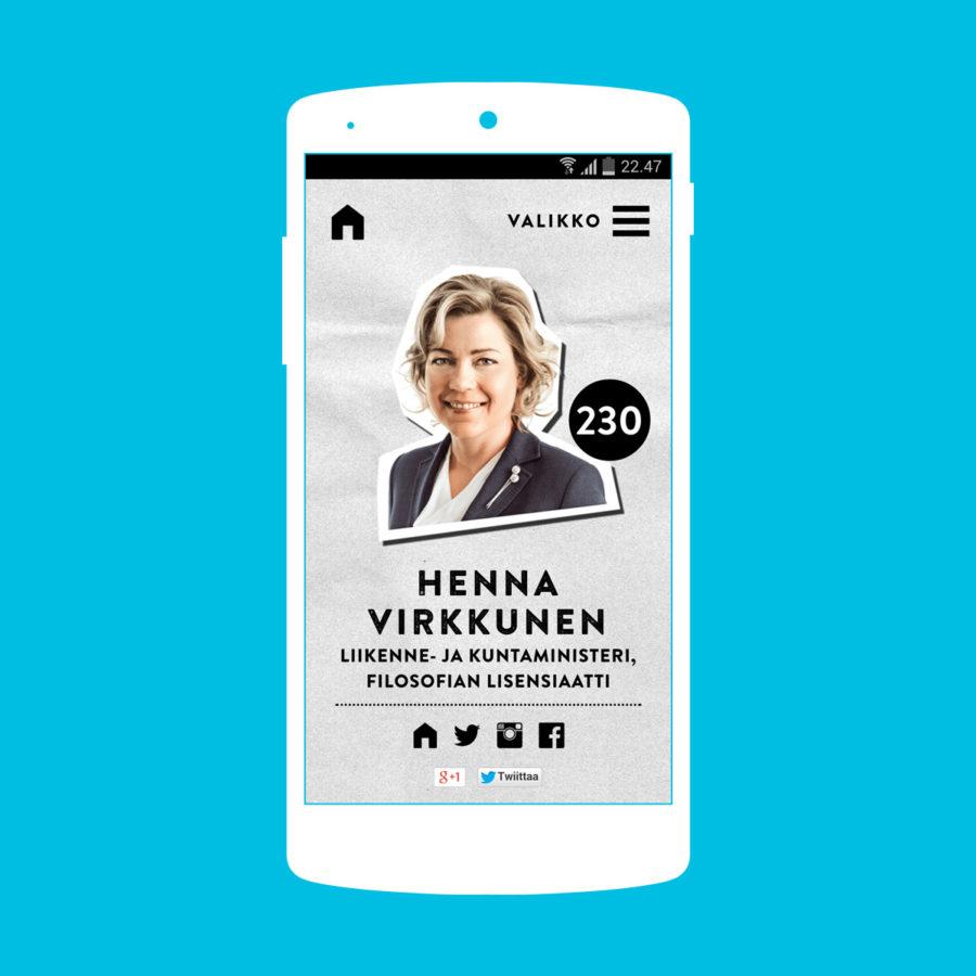 Ehdokkaan mobiilinäkymä
