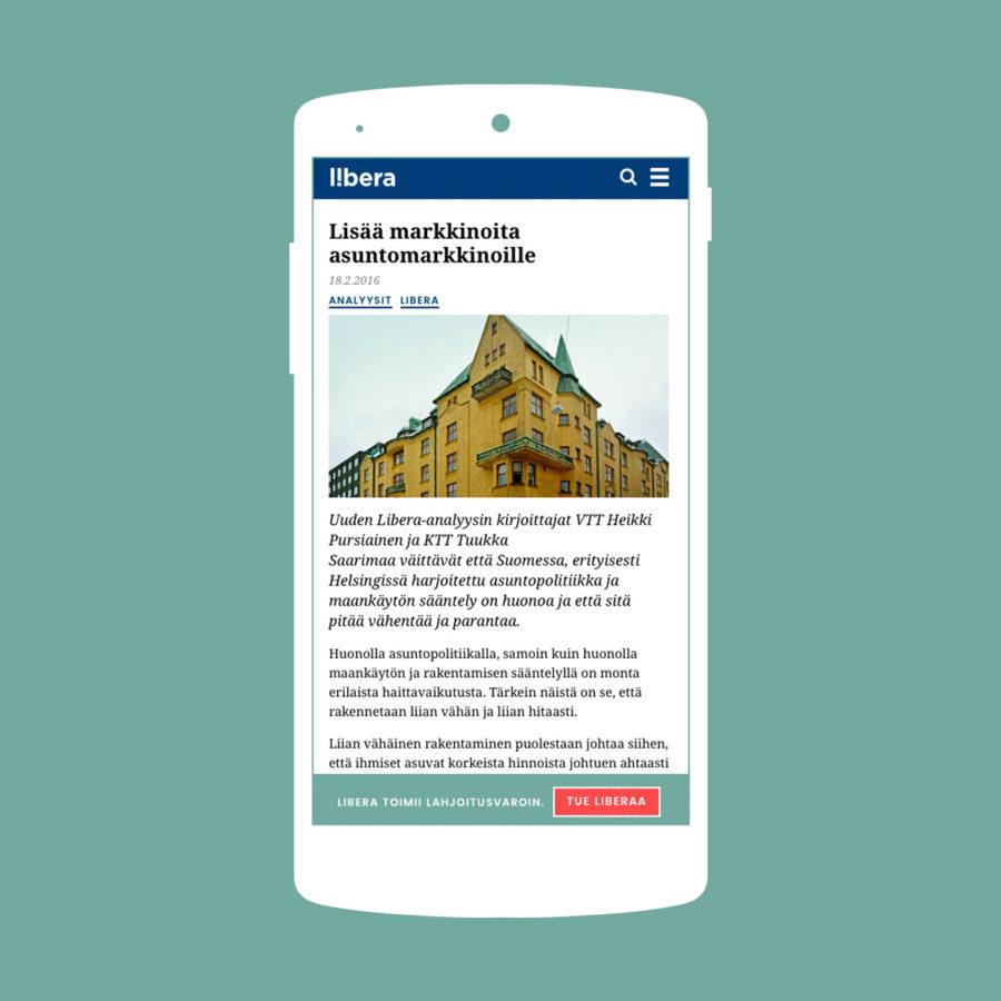 Libera.fi toimii mobiilissa mainiosti