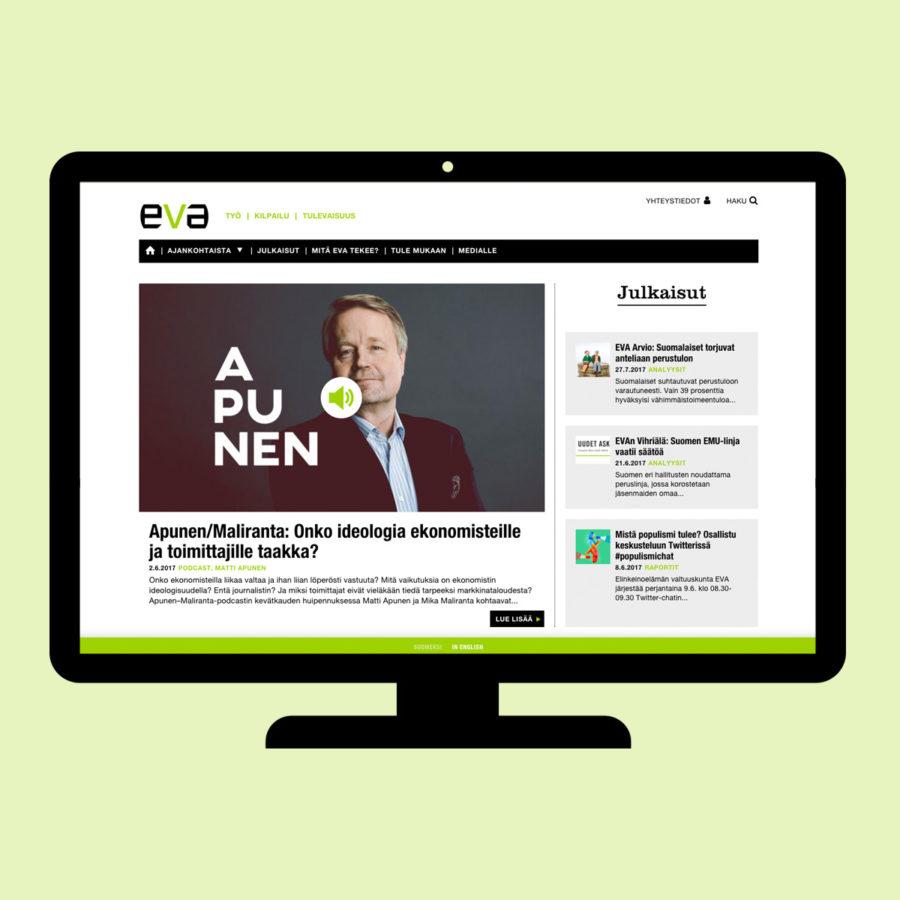 Eva.fi-verkkosivuston etusivu desktopilla