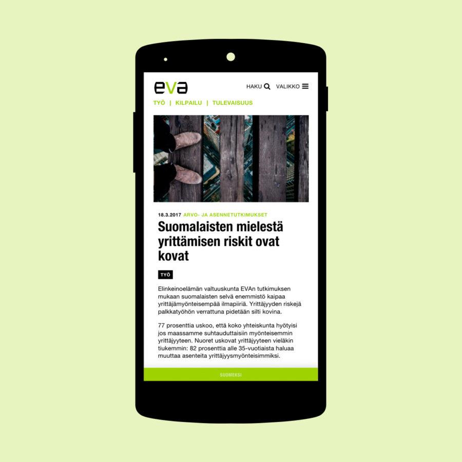 Eva.fi-artikkeli mobiilissa