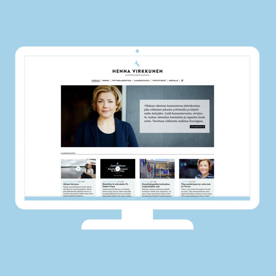 Henna Virkkusen verkkosivuston etusivu desktopilla
