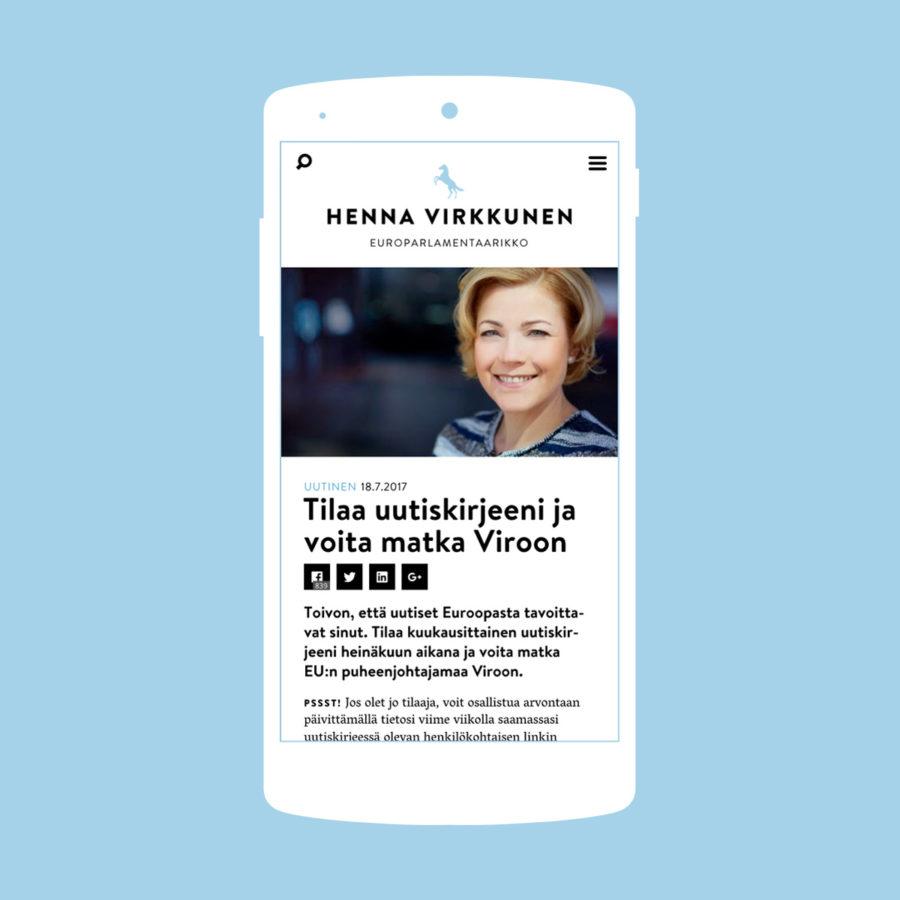 Henna Virkkusen verkkosivuston uutinen kännykällä