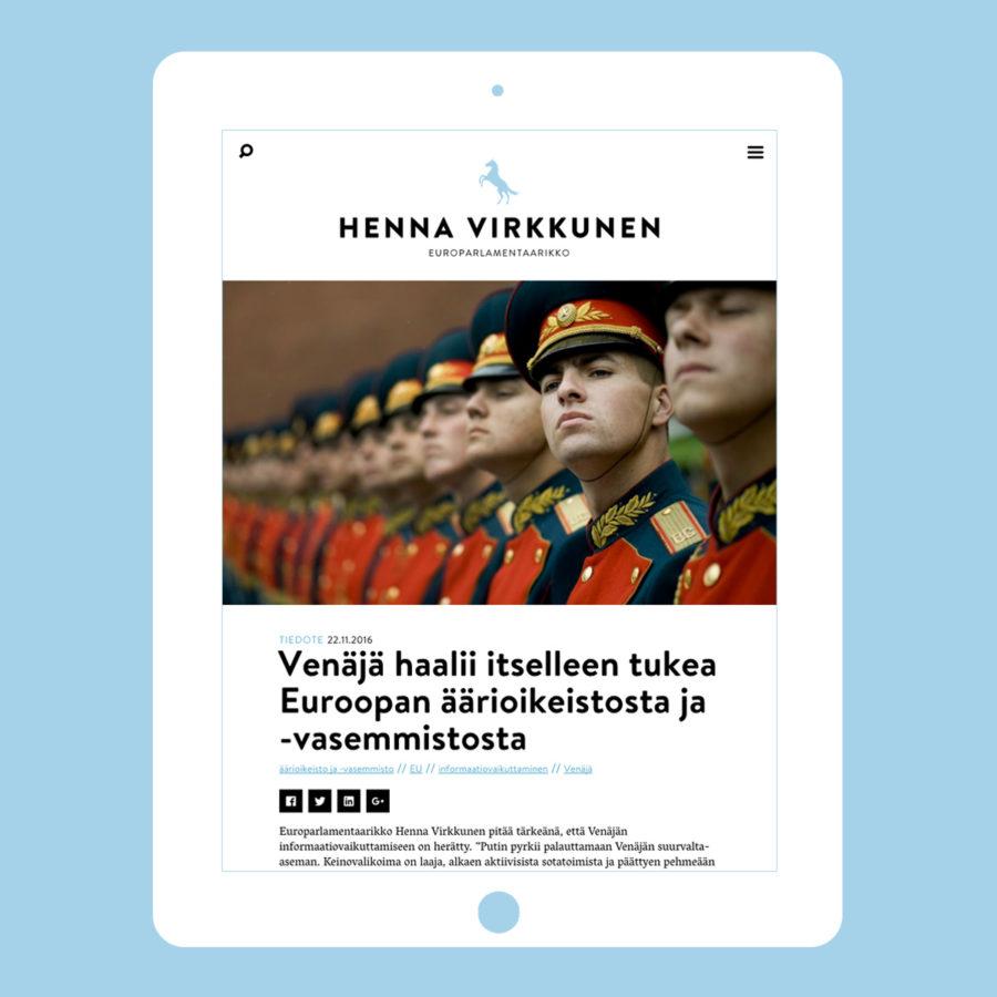 Henna Virkkusen verkkosivuston uutinen tabletin pystyasennossa