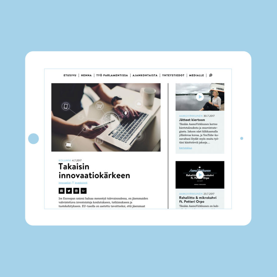 Henna Virkkusen verkkosivuston uutinen tabletin vaaka-asennossa