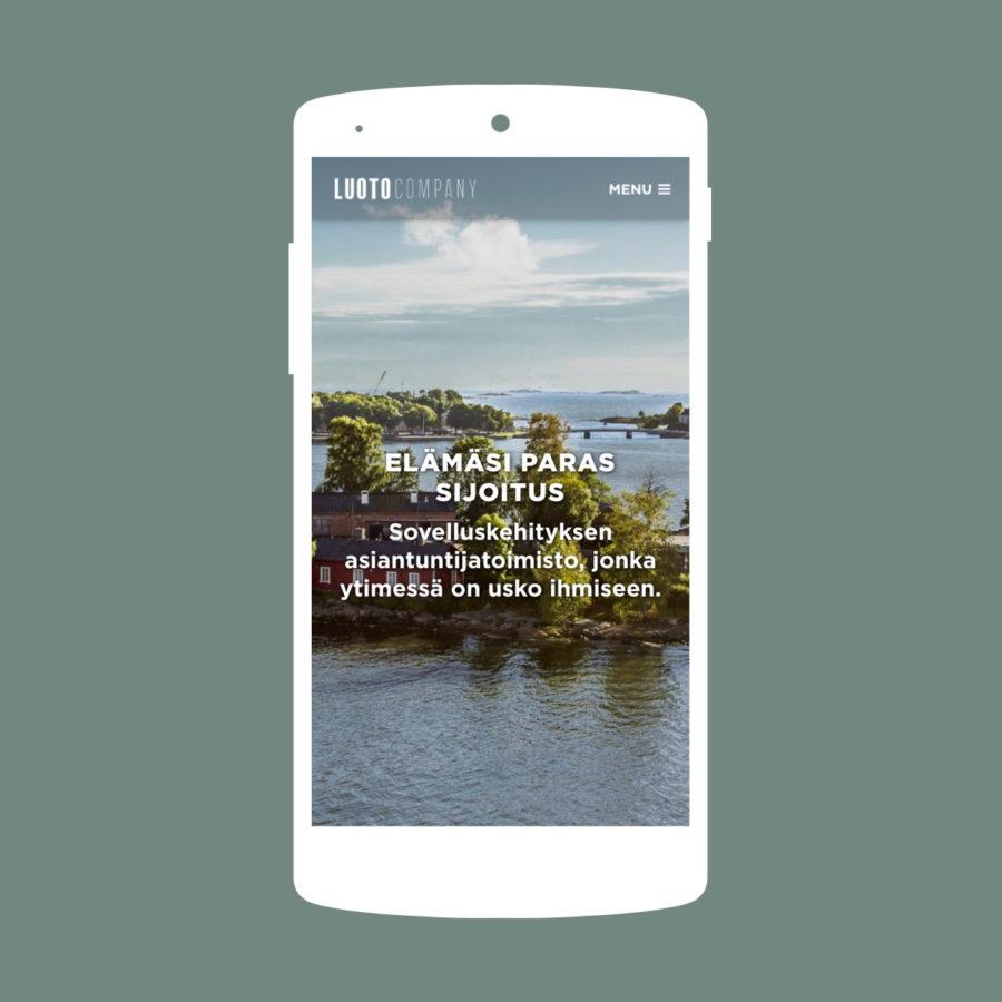 Luoto Companyn verkkosivusto kännykällä