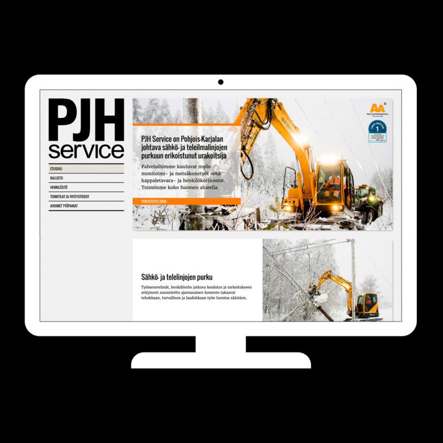 PJH Service -verkkosivuston etusivu desktopilla
