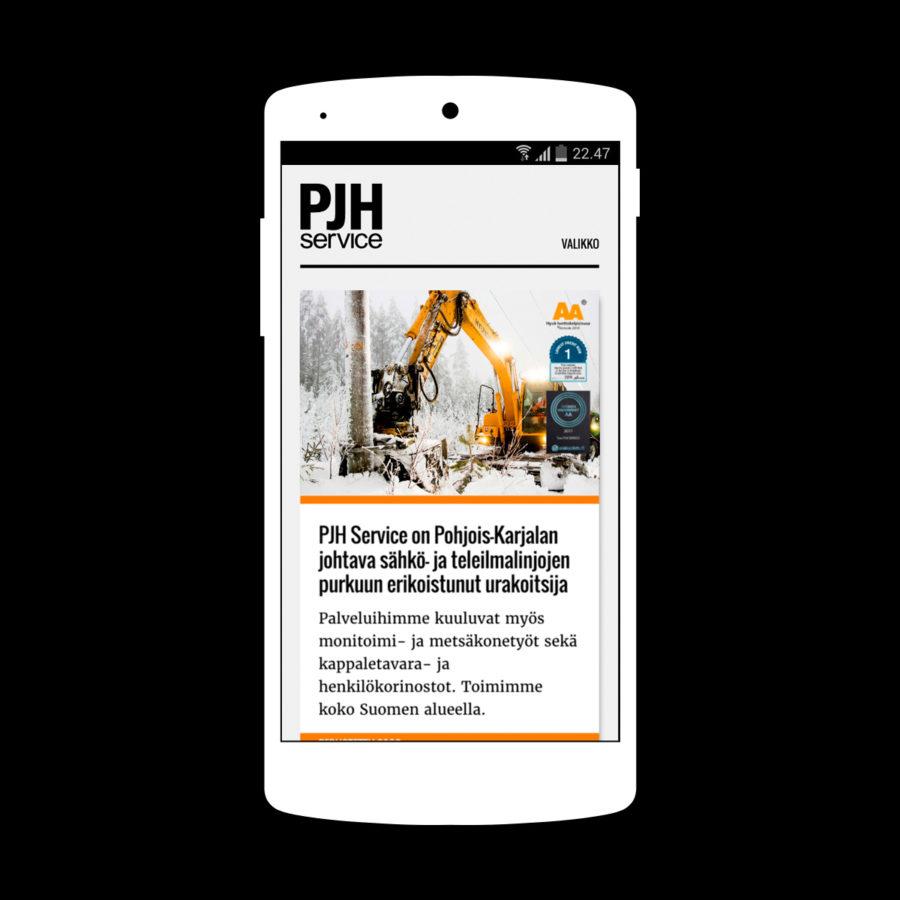 PJH Service -verkkosivuston etusivu mobiilissa
