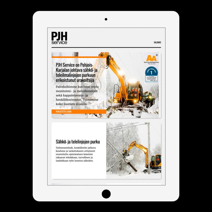 PJH Service -verkkosivuston etusivu tabletin pystyasennossa