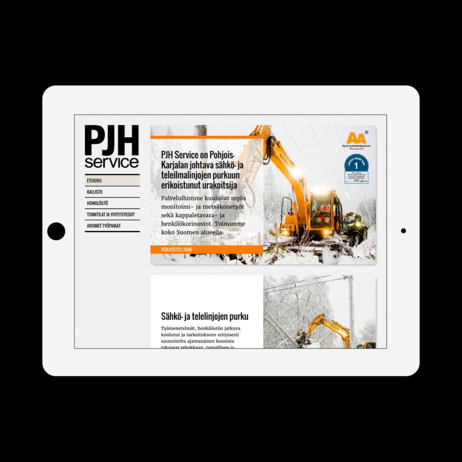 PJH Service -verkkosivuston etusivu tabletin vaaka-asennossa