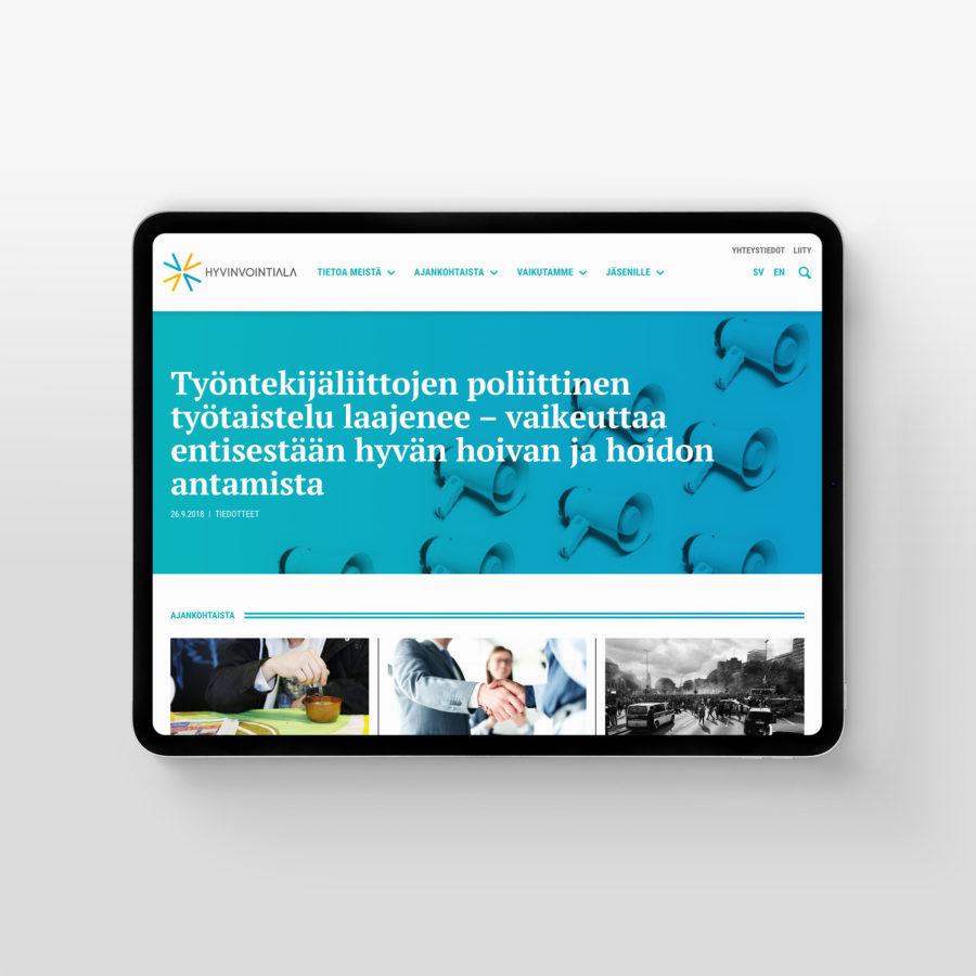 Hyvinvointiala.fi-sivusto tabletin vaakanäkymässä