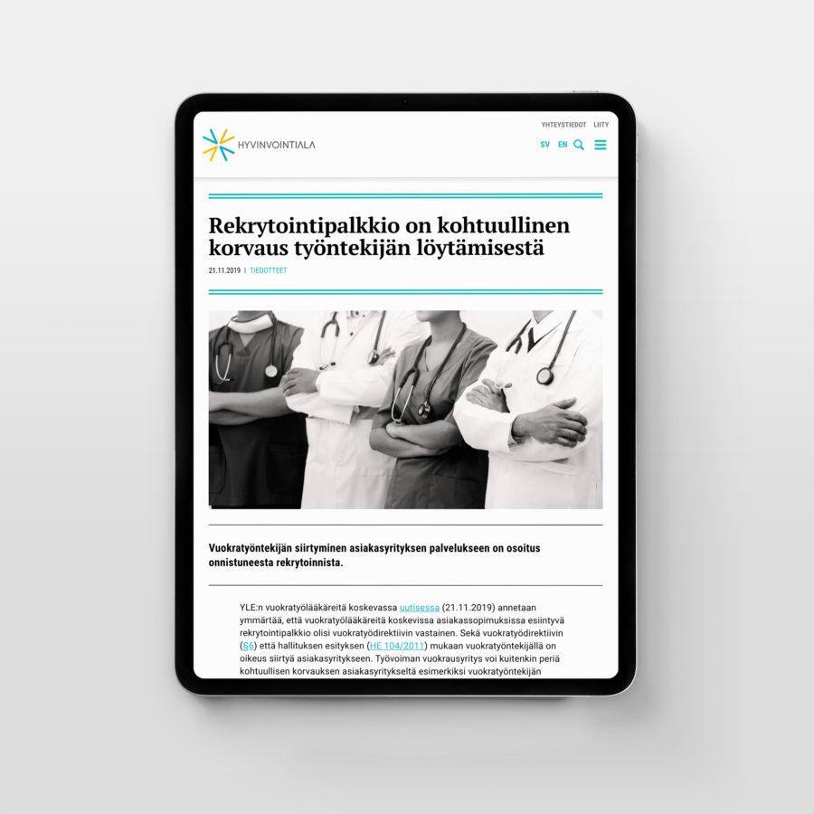 Hyvinvointiala.fi-sivusto iPadilla
