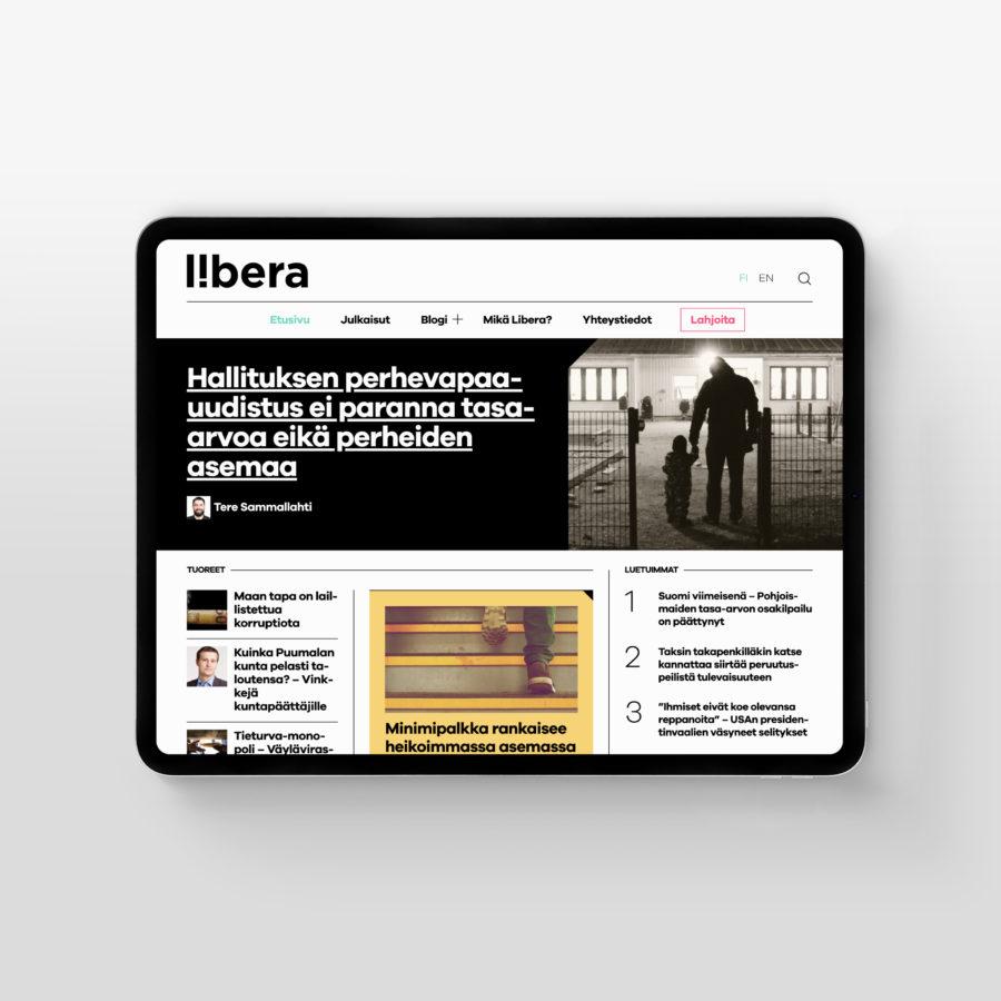 Libera.fi tabletin vaakanäkymässä